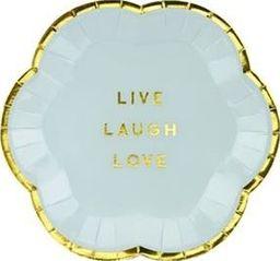 Party Deco Talerzyki Yummy - Live Laugh Love, jasny niebieski, 13cm, 6 szt. uniwersalny
