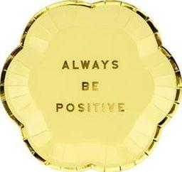 Party Deco Talerzyki Yummy - Always Be Positive, jasny żółty, 13cm, 6 szt. uniwersalny