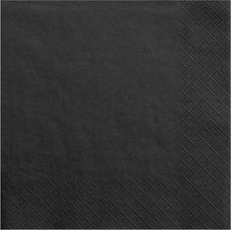 Party Deco Serwetki papierowe, czarne, 33x33 cm., 20 szt. uniwersalny