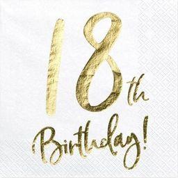 Party Deco Serwetki na osiemnaste urodziny, 18th Birthday, biały, 33x33 cm, 20 szt. uniwersalny