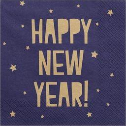 Party Deco Serwetki papierowe, Happy New Year, granatowe, 33x33 cm, 20 szt. uniwersalny