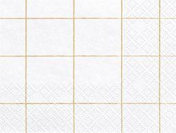 Party Deco Serwetki papierowe, złota kratka, białe, 33x33 cm, 20 szt. uniwersalny