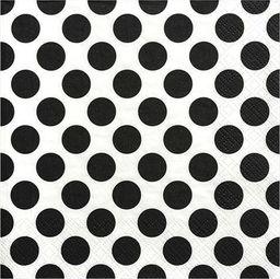 Party Deco Serwetki papierowe, czarne kropki, 33x33 cm., 20 szt. uniwersalny