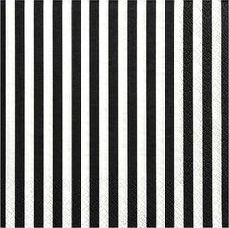 Party Deco Serwetki papierowe, czarne paski, 33x33 cm., 20 szt. uniwersalny
