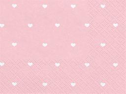 Party Deco Serwetki papierowe, jasnoróżowe w białe serduszka, 33x33 cm., 20 szt. uniwersalny