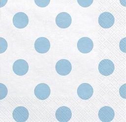 Party Deco Serwetki papierowe, białe w błęitne kropki, 33x33 cm., 20 szt. uniwersalny