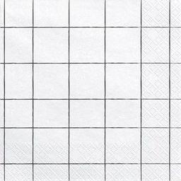 Party Deco Serwetki papierowe, kratka czarno-biała, 33x33 cm., 20 szt. uniwersalny