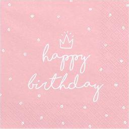 Party Deco Serwetki papierowe, Happy Birthday, jasny róż, 33x33 cm., 20 szt. uniwersalny
