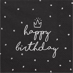 Party Deco Serwetki papierowe, Happy Birthday, czarne, 33x33 cm., 20 szt. uniwersalny