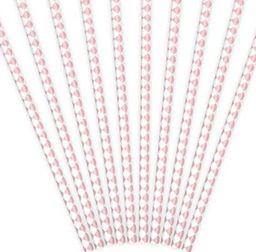 Party Deco Słomki papierowe do picia, wzór karo, jasnoróżowe, 19,5 cm, 10 szt. uniwersalny