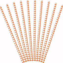Party Deco Słomki papierowe do picia, wzór karo, pomarańczowe, 19,5 cm, 10 szt. uniwersalny