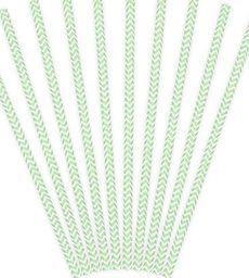 Party Deco Słomki papierowe do picia ze wzorem chevron, miętowe, 19,5cm, 10 szt. uniwersalny