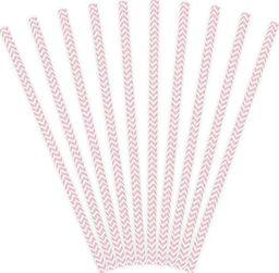 Party Deco Słomki papierowe do picia ze wzorem chevron, jasnoróżowe, 19,5cm, 10 szt. uniwersalny