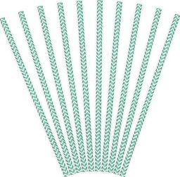 Party Deco Słomki papierowe do picia ze wzorem chevron, tiffany blue, 19,5cm, 10 szt. uniwersalny