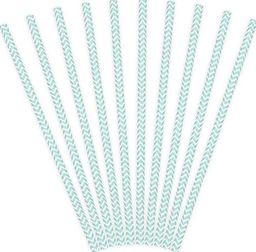 Party Deco Słomki papierowe do picia ze wzorem chevron, błękitne, 19,5cm, 10 szt. uniwersalny