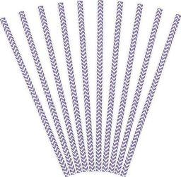 Party Deco Słomki papierowe do picia ze wzorem chevron, liliowe, 19,5cm, 10 szt. uniwersalny