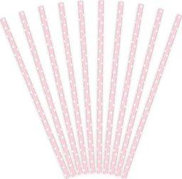 Party Deco Słomki papierowe do picia w kropki, jasnoróżowe, 19,5cm, 10 szt. uniwersalny