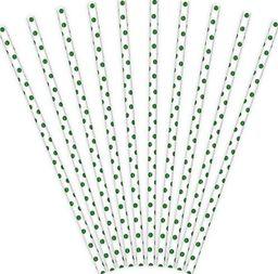 Party Deco Słomki papierowe do picia w zielone kropki, białe, 19,5cm, 10 szt. uniwersalny