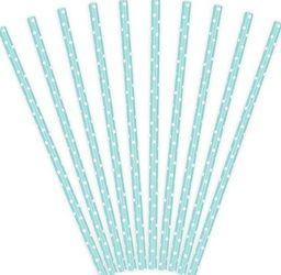 Party Deco Słomki papierowe do picia w kropki,błękitne, 19,5cm, 10 szt. uniwersalny