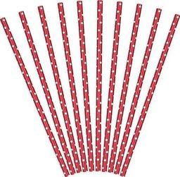 Party Deco Słomki papierowe do picia w kropki, czerwone, 19,5cm, 10 szt. uniwersalny