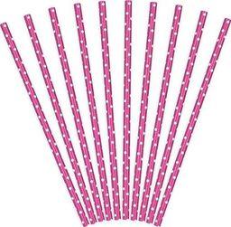 Party Deco Słomki papierowe do picia w kropki, ciemnoróżowe, 19,5cm, 10 szt. uniwersalny