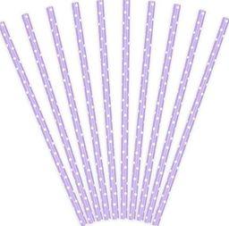Party Deco Słomki papierowe do picia w kropki, liliowe, 19,5cm, 10 szt. uniwersalny