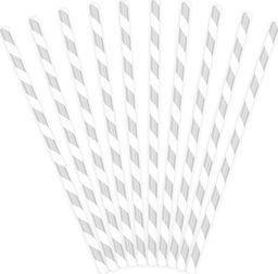 Party Deco Słomki papierowe do picia w paski, srebrne, 19,5cm, 10 szt. uniwersalny