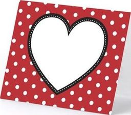 Party Deco Wizytówki na stół serduszko, czerwone, 8x6,5 cm. 6 szt. uniwersalny