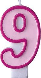 Party Deco Świeczka urodzinowa Cyferka 9, różowa uniwersalny