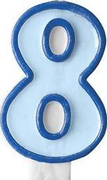 Party Deco Świeczka urodzinowa Cyferka 8, niebieska uniwersalny