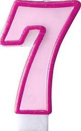Party Deco Świeczka urodzinowa Cyferka 7, różowa uniwersalny