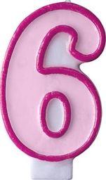 Party Deco Świeczka urodzinowa Cyferka 6, różowa uniwersalny