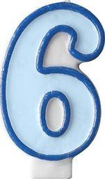 Party Deco Świeczka urodzinowa Cyferka 6, niebieska uniwersalny