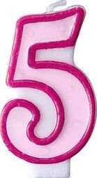 Party Deco Świeczka urodzinowa Cyferka 5, różowa uniwersalny