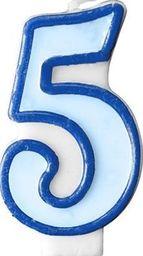 Party Deco Świeczka urodzinowa Cyferka 5, niebieska uniwersalny