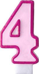 Party Deco Świeczka urodzinowa Cyferka 4, różowa uniwersalny