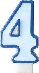 Party Deco Świeczka urodzinowa Cyferka 4, niebieska uniwersalny