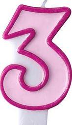Party Deco Świeczka urodzinowa Cyferka 3, różowa uniwersalny