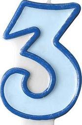 Party Deco Świeczka urodzinowa Cyferka 3, niebieska uniwersalny