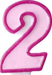 Party Deco Świeczka urodzinowa Cyferka 2, różowa uniwersalny
