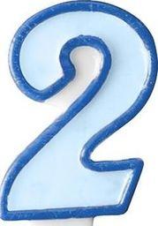 Party Deco Świeczka urodzinowa Cyferka 2, niebieska uniwersalny