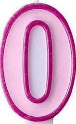 Party Deco Świeczka urodzinowa Cyferka 0, różowa uniwersalny