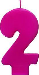 Świeczka urodzinowa Cyferka 2, różowa uniwersalny