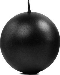 Party Deco Świeca kula, metaliczna, czarna, 8 cm, 6 szt. uniwersalny
