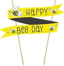 Party Deco Topper Pszczółka, Happy Bee-day, żółty, 19 cm uniwersalny