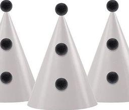 Party Deco Czapeczka urodzinowa z pomponami, beżowo-czarna, 16 cm, 6 szt. uniwersalny
