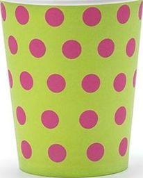 Party Deco Kubeczki jednorazowe, zielone w różowe kropki, 200 ml, 6 szt. uniwersalny