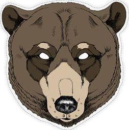 Party Deco Maska imprezowa, niedźwiedż, brązowa uniwersalny