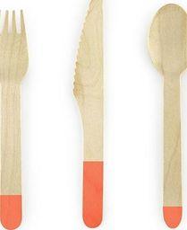 Party Deco Sztućce drewniane, ciemnopomarańczowe, 16cm, 18 szt. uniwersalny