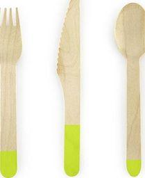 Party Deco Sztućce drewniane, jasnozielone, 16cm, 18 szt. uniwersalny